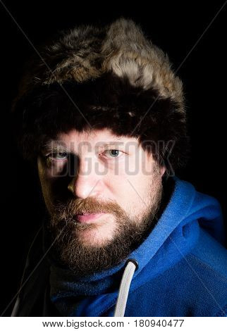 Portrait of solid nord hunter in fur hat