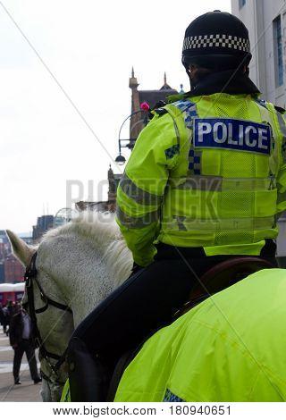 UK police woman on horseback in city center.