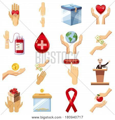 Charity icons set. Cartoon illustration of 16 charity vector icons for web