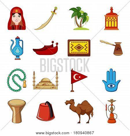 Turkey travel icons set. Cartoon illustration of 16 Turkey travel vector icons for web