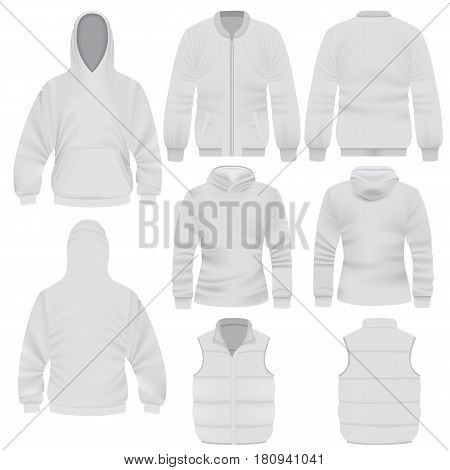 Warm clothes mockup set. Realistic illustration of 8 warm clothes mockups for web