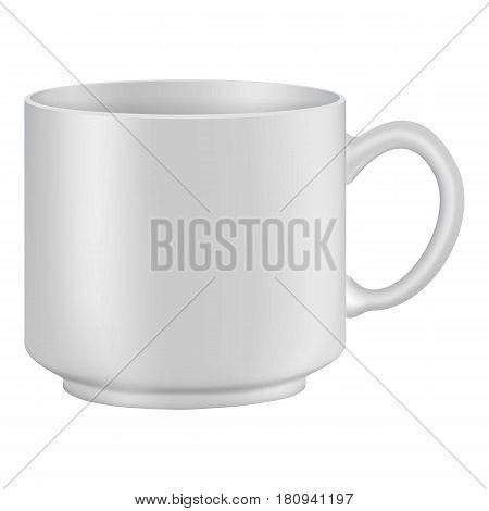 White tea or coffee cup mockup. Realistic illustration of white tea or coffee cup vector mockup for web