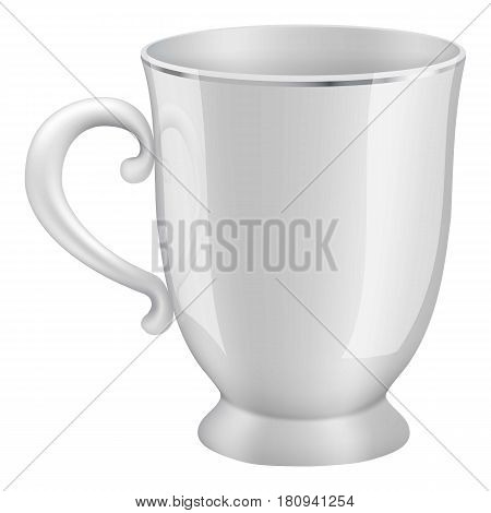 White tea cup mockup. Realistic illustration of white tea cup vector mockup for web