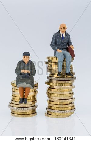 pensioners and pensioner on money stack