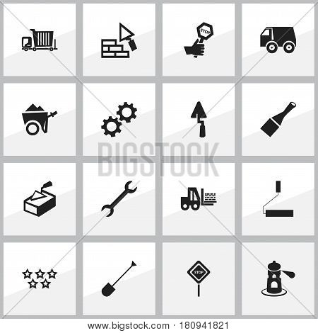 Set Of 16 Editable Construction Icons. Includes Symbols Such As Roller, Chisel, Spatula And More. Can Be Used For Web, Mobile, UI And Infographic Design.