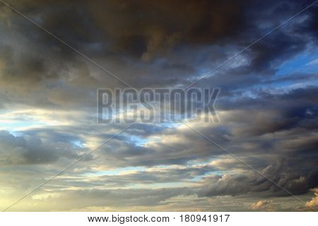 Cloudy stormy sky can be used as a background.
