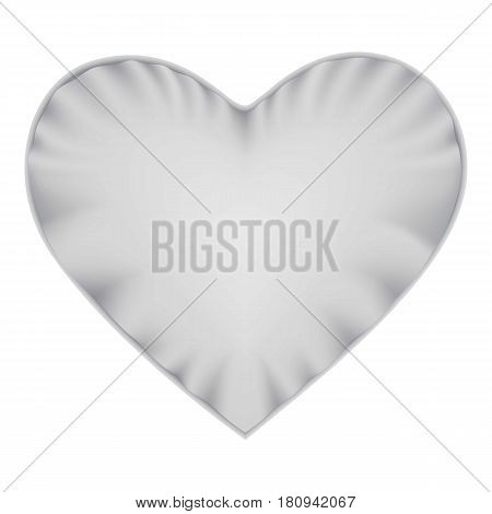 White heart shape pillow mockup. Realistic illustration of white heart shape pillow vector mockup for web