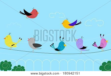 Cute illustration of colorful birds sitting on wires. Vector