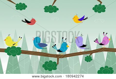 Cartoon cute birds is sitting on branch in the forest. Linear seamless illustration