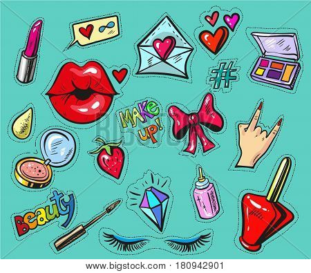Fashion badges or stickers hand drawn style vector stock art