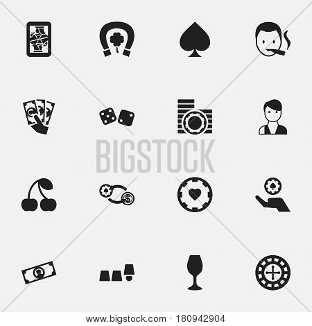 Set Of 16 Editable Game Icons. Includes Symbols Such As Casino Chip, Swap, Blackjack And More. Can Be Used For Web, Mobile, UI And Infographic Design.