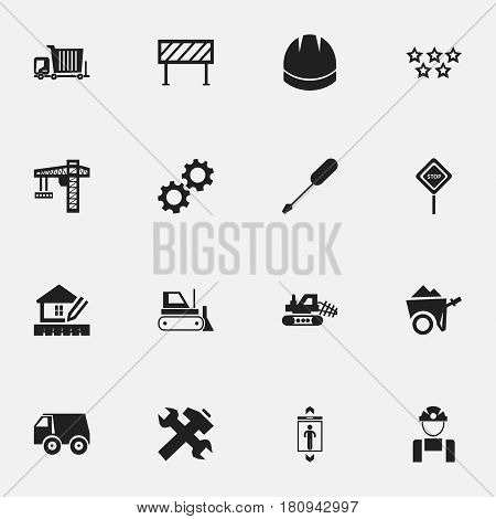 Set Of 16 Editable Building Icons. Includes Symbols Such As Caution, Handcart , Crane. Can Be Used For Web, Mobile, UI And Infographic Design.