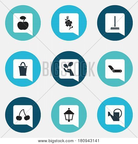 Set Of 9 Editable Gardening Icons. Includes Symbols Such As Plant Protection, Daffodils, Clasp Knife And More. Can Be Used For Web, Mobile, UI And Infographic Design.
