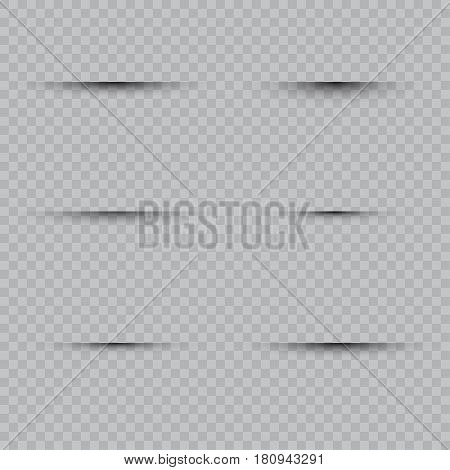 Oval shadow with soft edges vector set on checkered background.