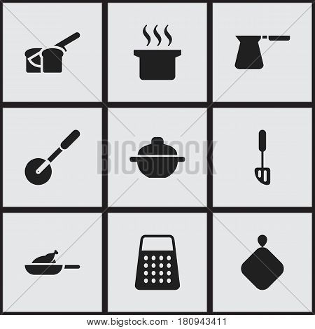 Set Of 9 Editable Cooking Icons. Includes Symbols Such As Shredder, Soup Pot, Saucepan And More. Can Be Used For Web, Mobile, UI And Infographic Design.