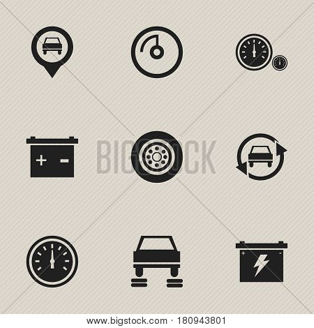 Set Of 9 Editable Transport Icons. Includes Symbols Such As Battery, Pointer, Speed Display And More. Can Be Used For Web, Mobile, UI And Infographic Design.