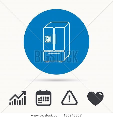 American fridge icon. Refrigerator with ice sign. Calendar, attention sign and growth chart. Button with web icon. Vector