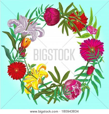 Floral colorful round frame vector card template fro stocks
