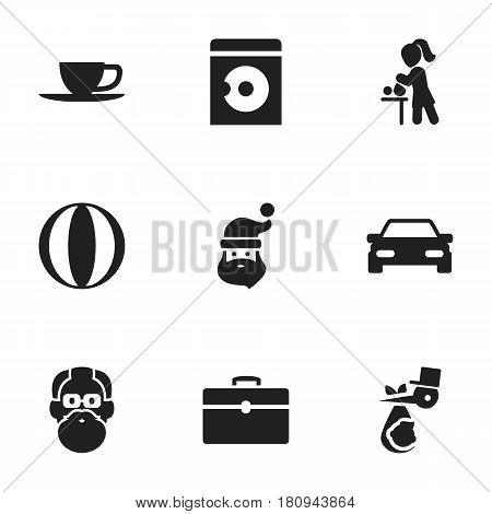 Set Of 9 Editable Relatives Icons. Includes Symbols Such As Laundress, Child, Automobile And More. Can Be Used For Web, Mobile, UI And Infographic Design.