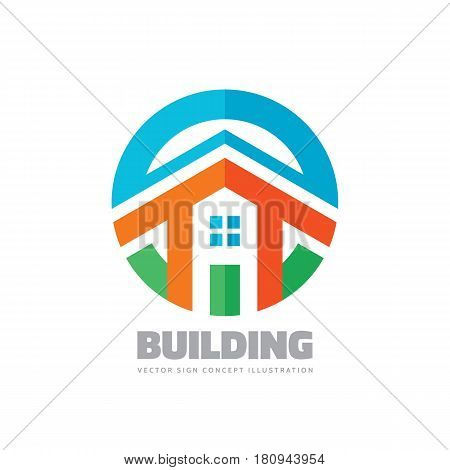 House building - vector logo concept illustration in flat style for presentation, booklet, website and other creative projects. Real estate. Design element.