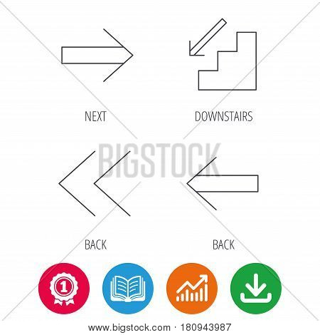 Arrows icons. Downstairs, next and back linear signs. Next, back arrows flat line icons. Award medal, growth chart and opened book web icons. Download arrow. Vector