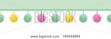 Vector Colorful Pastel Baby Room Pompoms Set On Strings Horizontal Seamless Repeat Border Pattern. Great for handmade cards, invitations, wallpaper, packaging, nursery designs. Surface pattern design.
