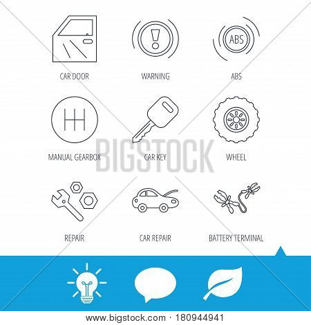 Car key, repair tools and manual gearbox icons. Wheel, warning ABS and battery terminal linear signs. Light bulb, speech bubble and leaf web icons. Vector
