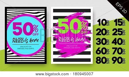Set of Spring Sale Posters. Striped Vector Backgrounds. Zebra Pattern Minimal Design. Template for Banner Poster Flyer Voucher Discount.