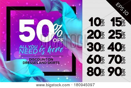 Bright Vector Sale Template with Flying Silk on Colorful Background and Bokeh Effect. Advertising For Cloth Shop Web Banner Pop-up Poster Flyer.