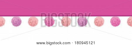 Vector Colorful Pink Pastel Baby Girl Room Pompoms Set Horizontal Seamless Repeat Border Pattern. Great for handmade cards, invitations, wallpaper, packaging, nursery designs. Surface pattern design.