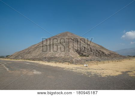 View on the pyramid of the sun in Archeological site Teotihuacan, Mexico
