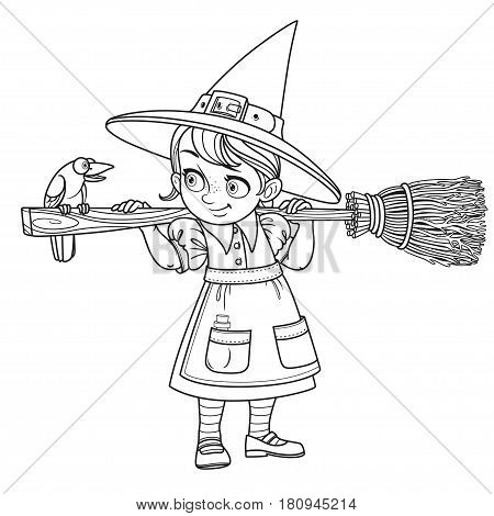 Cute girl witch holding broom and a talking with raven outlined on a white background