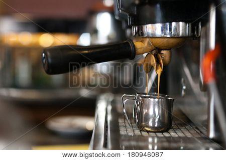 Coffee. Coffee espresso. Espresso machine brewing coffee