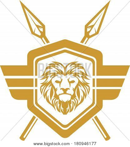 logo illustration lion crest wing and lance