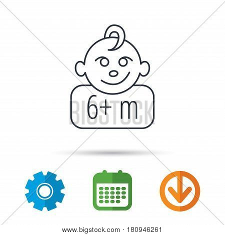 Baby face icon. Newborn child sign. Use of six months and plus symbol. Calendar, cogwheel and download arrow signs. Colored flat web icons. Vector