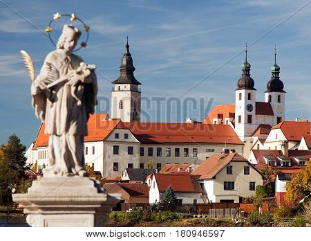 view of Telc or Teltsch town with statue of st. John of Nepomuk World heritage site by unesco in Czech Republic