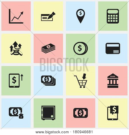 Set Of 16 Editable Finance Icons. Includes Symbols Such As Money Card, Computation Machine, Specie And More. Can Be Used For Web, Mobile, UI And Infographic Design.