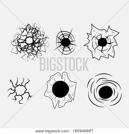 Bullet Hole icon. Fully editable vector image.