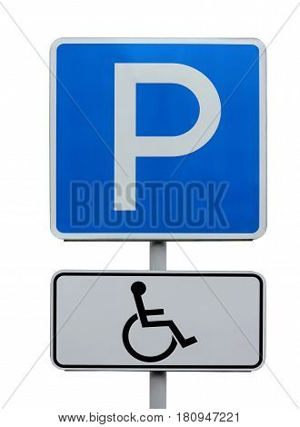 road sign Parking place for the disabled. isolated on a white background. blue square traffic sign for drivers of vehicles.