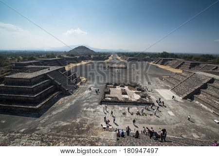 Teotihuacan, Mexico, circa february 2017: View fon the pyramid of the sun in Archeological site Teotihuacan, Mexico