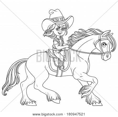 Cute Little Girl In A Cowboy Suit Riding A Horse Outlined Isolated On A White Background