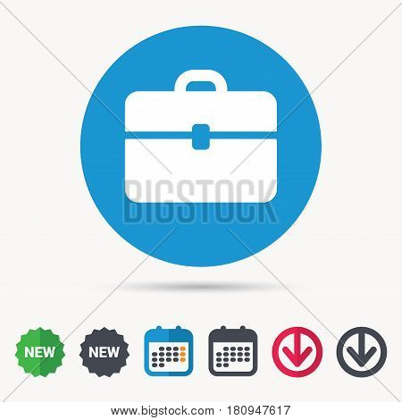 Briefcase icon. Diplomat handbag symbol. Business case sign. Calendar, download arrow and new tag signs. Colored flat web icons. Vector