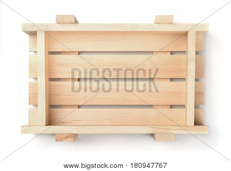Top view of empty wooden fruit crate isolated on white