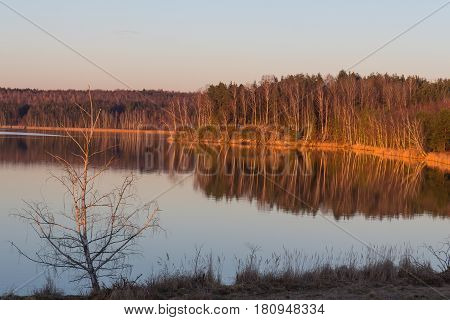 Sunset at the Lake Steinberger See next to Schwandorf in Bavaria
