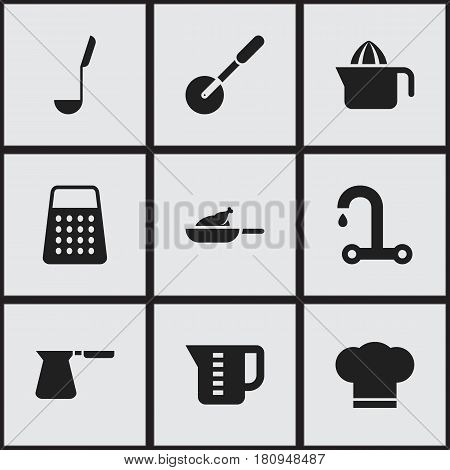 Set Of 9 Editable Meal Icons. Includes Symbols Such As Juicer, Faucet, Coffee Pot And More. Can Be Used For Web, Mobile, UI And Infographic Design.
