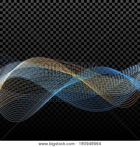 Light effects. Abstract discrete waves of golden and blue. Harmonics. On a checker background. Vector illustration