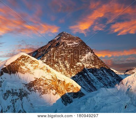 Mount Everest Evening colored view of Mount Everest from Kala Patthar Khumbu valley Solukhumbu Mount Everest area Sagarmatha national park Nepal
