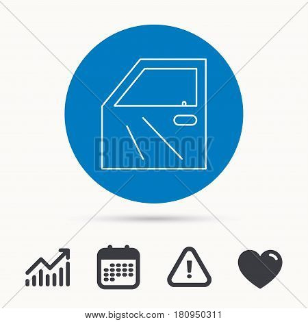 Car door icon. Automobile lock sign. Calendar, attention sign and growth chart. Button with web icon. Vector