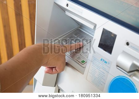 Keyboard Panel Of Atm Or Autmatic Teller Machine With Female Hand Push Atm Security Pin Code Or Pass