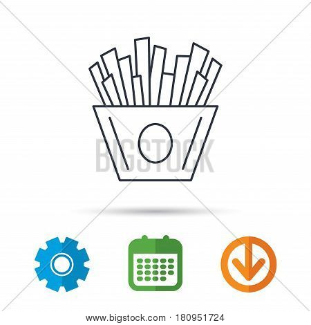 Chips icon. Fries fast food sign. Fried potatoes symbol. Calendar, cogwheel and download arrow signs. Colored flat web icons. Vector